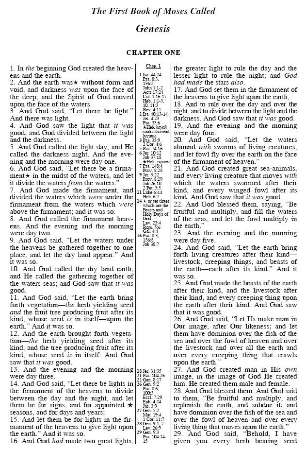 Original Bible Restored Sample Genesis Chapter 1